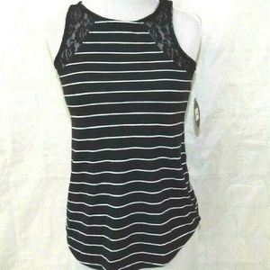 Womens Black White Stripe Lace Insert Tank Top